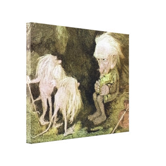 Troll with his Pet Frog Gallery Wrapped Canvas