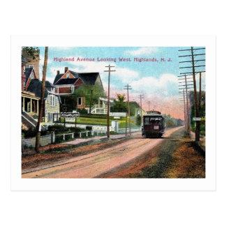 Trolley, Highland Ave., Atlantic Highlands, NJ Postcard