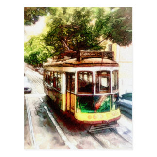 Trolley in Lisboa Portugal - Lisbon Streetcar Postcard