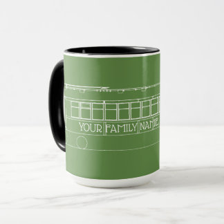 TROLLEY TRAIN STREETCAR white +YOUR FAMILY NAME Mug