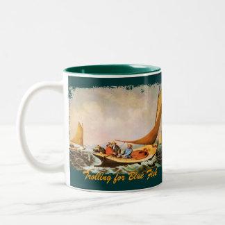 Trolling for Blue Fish Two-Tone Coffee Mug