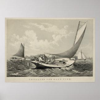 Trolling for Bluefish 1866 Print