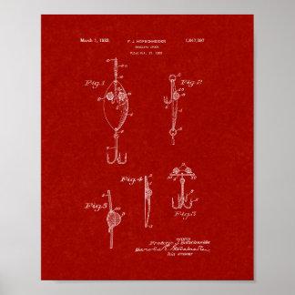 Trolling Spoon Patent - Burgundy Red Print