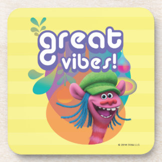 Trolls   Cooper - Great Vibes! Drink Coaster