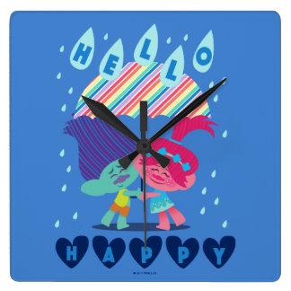 Trolls   Happy Rain Drops Square Wall Clock