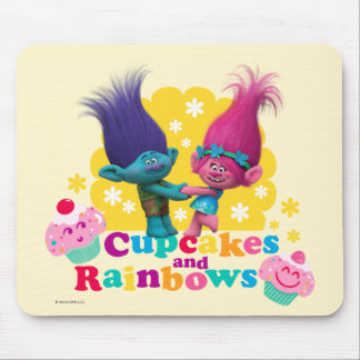 Trolls | Poppy & Branch - Cupcakes and Rainbows Mouse Pad
