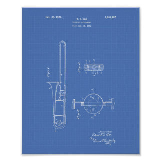 Trombone Attachment 1927 Patent Art Blueprint Poster