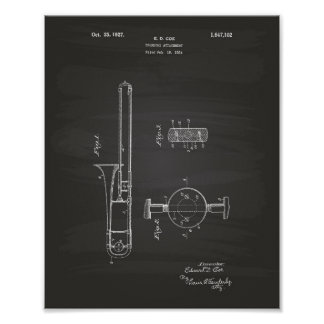Trombone Attachment 1927 Patent Art Chalkboard Poster