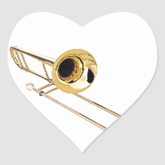 """""""Trombone"""" design gifts and products Heart Sticker"""