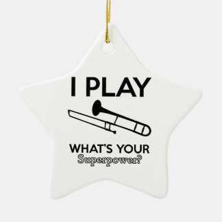 trombone designs ceramic ornament