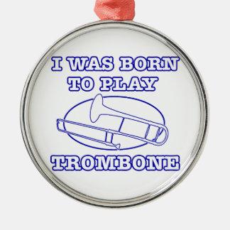 trombone Designs Silver-Colored Round Ornament