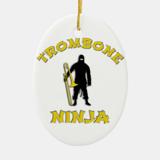 Trombone Ninja Ceramic Oval Ornament