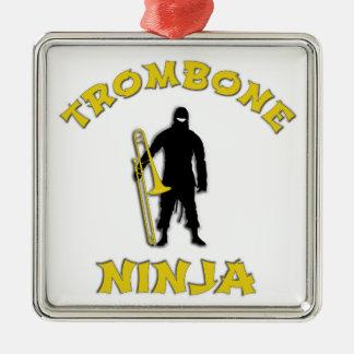Trombone Ninja Silver-Colored Square Ornament