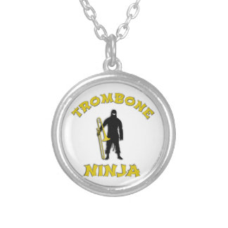 Trombone Ninja Silver Plated Necklace