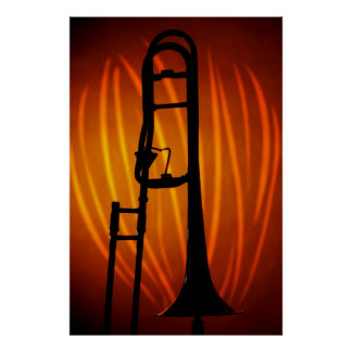Trombone on Fire Art Poster