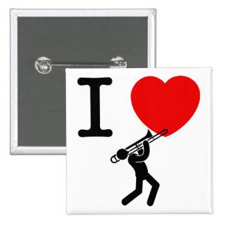 Trombone Player 2 Inch Square Button