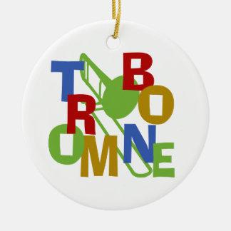TROMBONE ROUND CERAMIC ORNAMENT