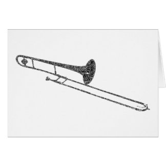Trombone Shaped Word Art Black Text Card