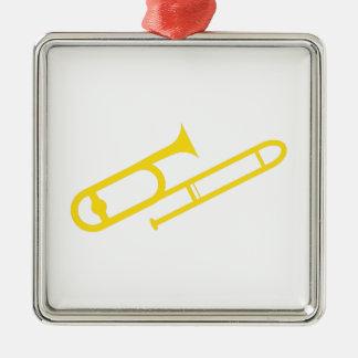 Trombone Silver-Colored Square Ornament