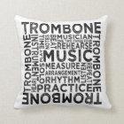 Trombone Typography Throw Pillow