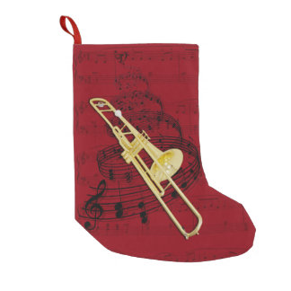 Trombone (valve) music stocking small christmas stocking