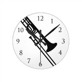 Trombone Wall Click Round Clock
