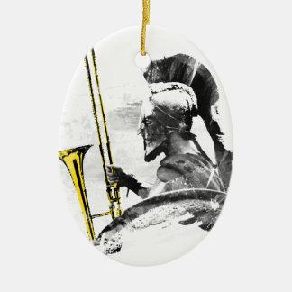 Trombone Warrior Ceramic Oval Ornament