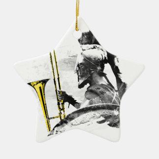 Trombone Warrior Ceramic Star Ornament