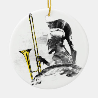 Trombone Warrior Round Ceramic Ornament