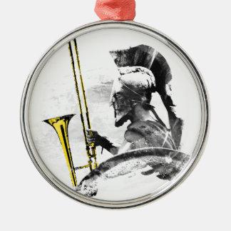 Trombone Warrior Silver-Colored Round Ornament