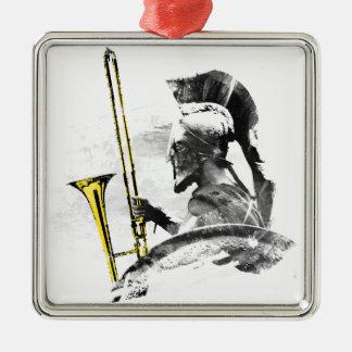 Trombone Warrior Silver-Colored Square Ornament