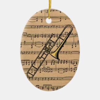 Trombone With Sheet Music Background Ceramic Oval Ornament