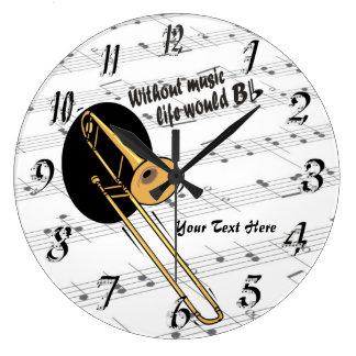 Trombone Without Music Life Would B Flat WallClock