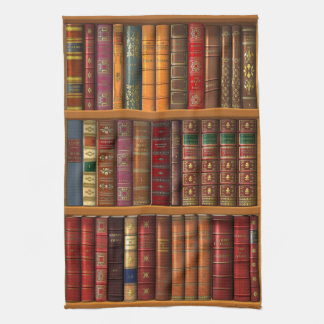 "Trompe l'oeil ""French library"". Kitchen Towel"
