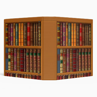 Trompe l'oeil of a library of classical books binder