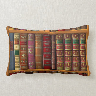 Trompe l'oeil of a library of classical books lumbar pillow