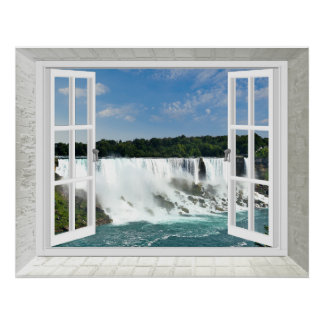 Trompe l'oeil Waterfall Fake Window View Poster