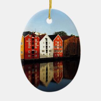 Trondheim in Norway Ceramic Oval Ornament