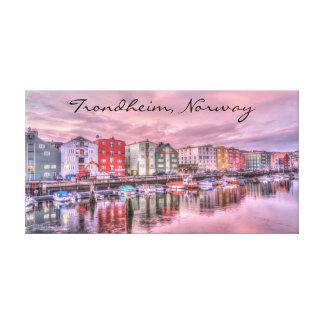 Trondheim Norway Boat Scene Cityscape Canvas Print