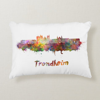 Trondheim skyline in watercolor decorative pillow