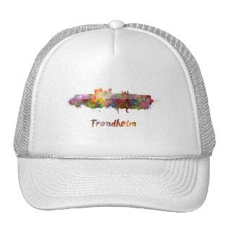 Trondheim skyline in watercolor trucker hat