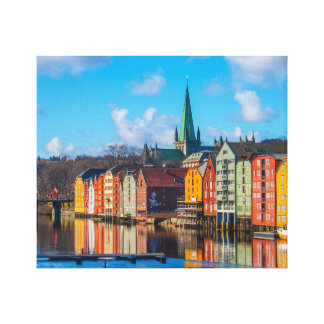 Trondheim waterfront, Norway Canvas Print