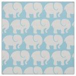 Troop Of Elephants (Elephant Pattern) - Grey Blue Fabric