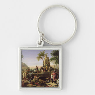 Troops halted on the Banks of the Nile Silver-Colored Square Keychain