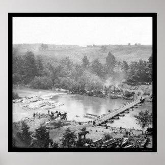 Troops near Pontoon Bridge over North Anna 1864 Poster