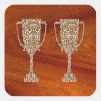 TROPHÉE d'or : Célébration de récompense de Sticker Carré