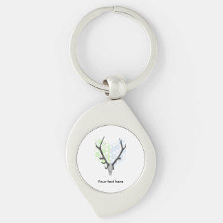 Trophy Deer antlers geometric pattern Silver-Colored Swirl Keychain