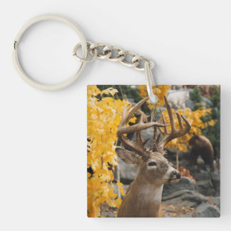 Trophy Deer Double-Sided Square Acrylic Keychain