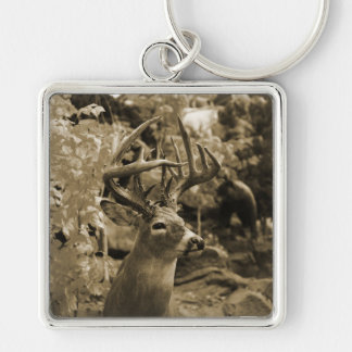 Trophy Deer Silver-Colored Square Keychain