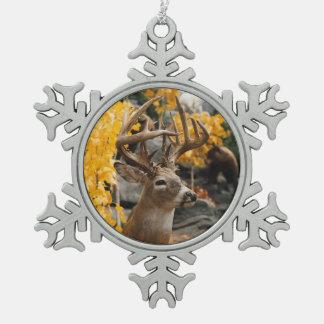 Trophy Deer Snowflake Pewter Christmas Ornament